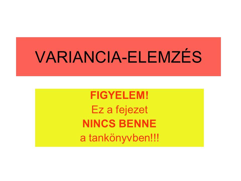VARIANCIA-ELEMZÉS FIGYELEM! Ez a fejezet NINCS BENNE a tankönyvben!!!