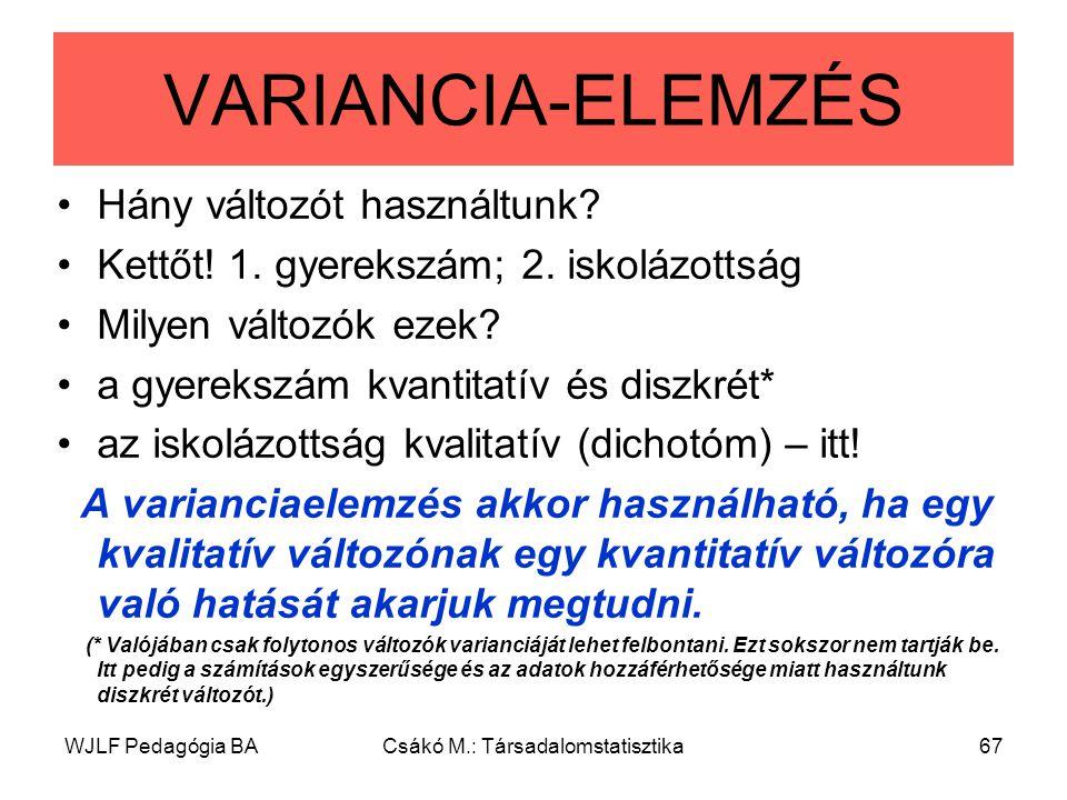 WJLF Pedagógia BACsákó M.: Társadalomstatisztika67 VARIANCIA-ELEMZÉS Hány változót használtunk.