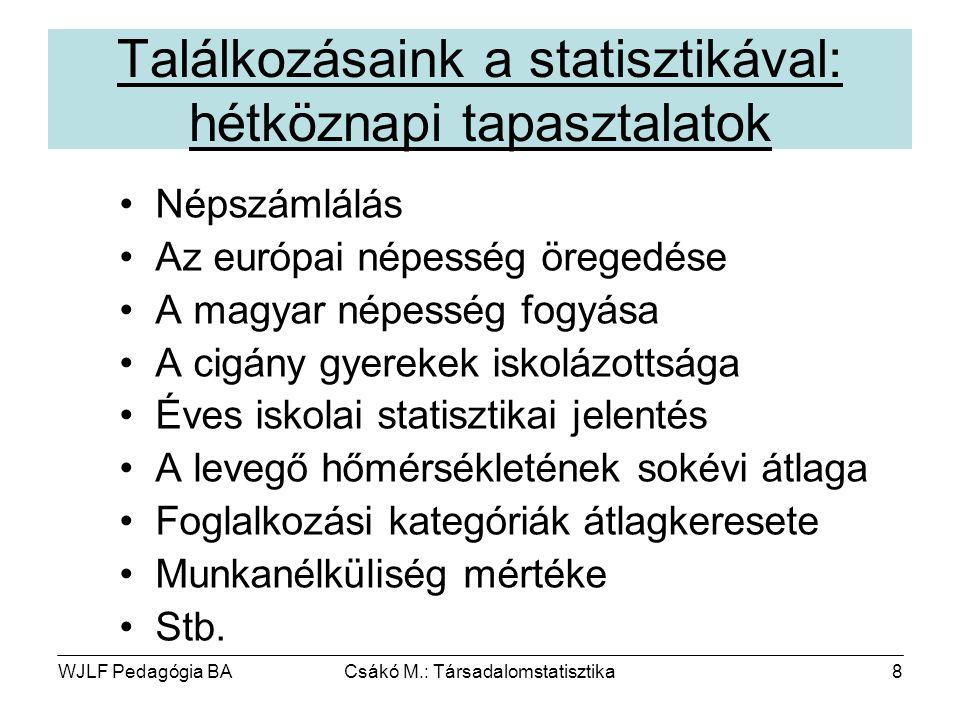 WJLF Pedagógia BACsákó M.: Társadalomstatisztika8 Találkozásaink a statisztikával: hétköznapi tapasztalatok Népszámlálás Az európai népesség öregedése A magyar népesség fogyása A cigány gyerekek iskolázottsága Éves iskolai statisztikai jelentés A levegő hőmérsékletének sokévi átlaga Foglalkozási kategóriák átlagkeresete Munkanélküliség mértéke Stb.