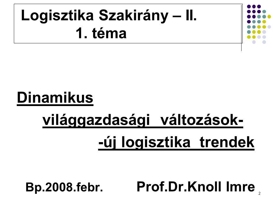 2 Logisztika Szakirány – II. 1.