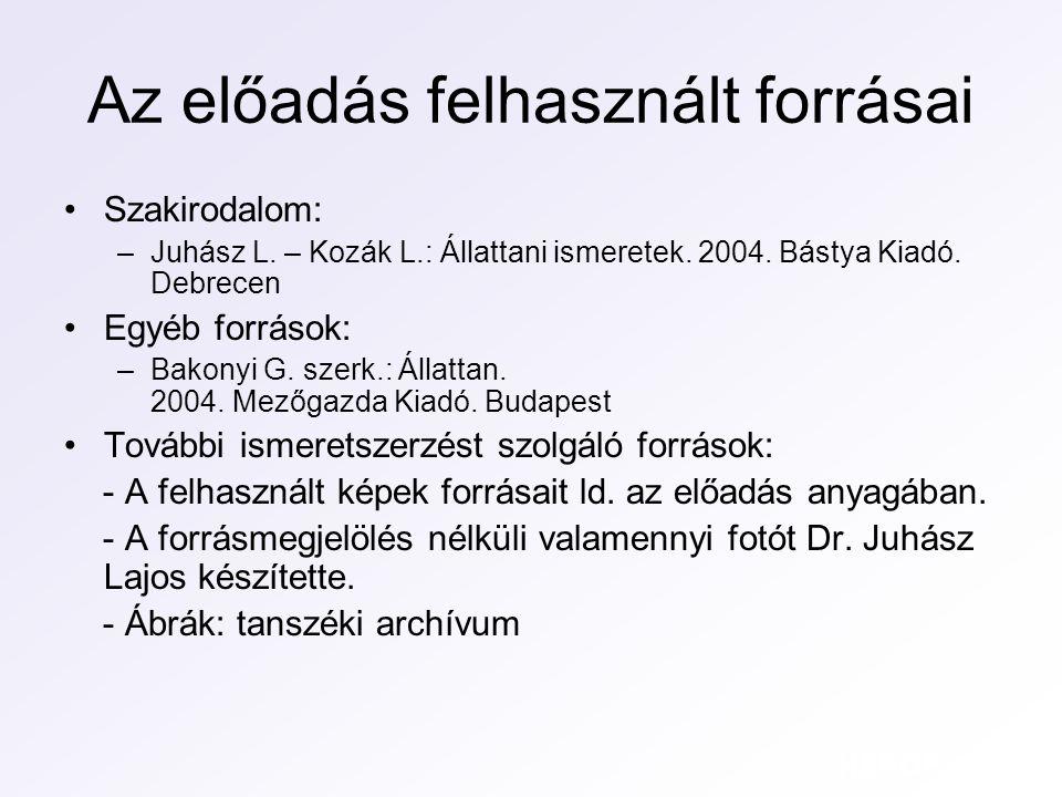 Az előadás felhasznált forrásai Szakirodalom: –Juhász L. – Kozák L.: Állattani ismeretek. 2004. Bástya Kiadó. Debrecen Egyéb források: –Bakonyi G. sze