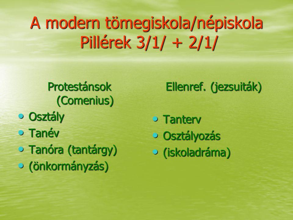 A modern tömegiskola/népiskola Pillérek 3/1/ + 2/1/ Protestánsok (Comenius) Osztály Osztály Tanév Tanév Tanóra (tantárgy) Tanóra (tantárgy) (önkormány