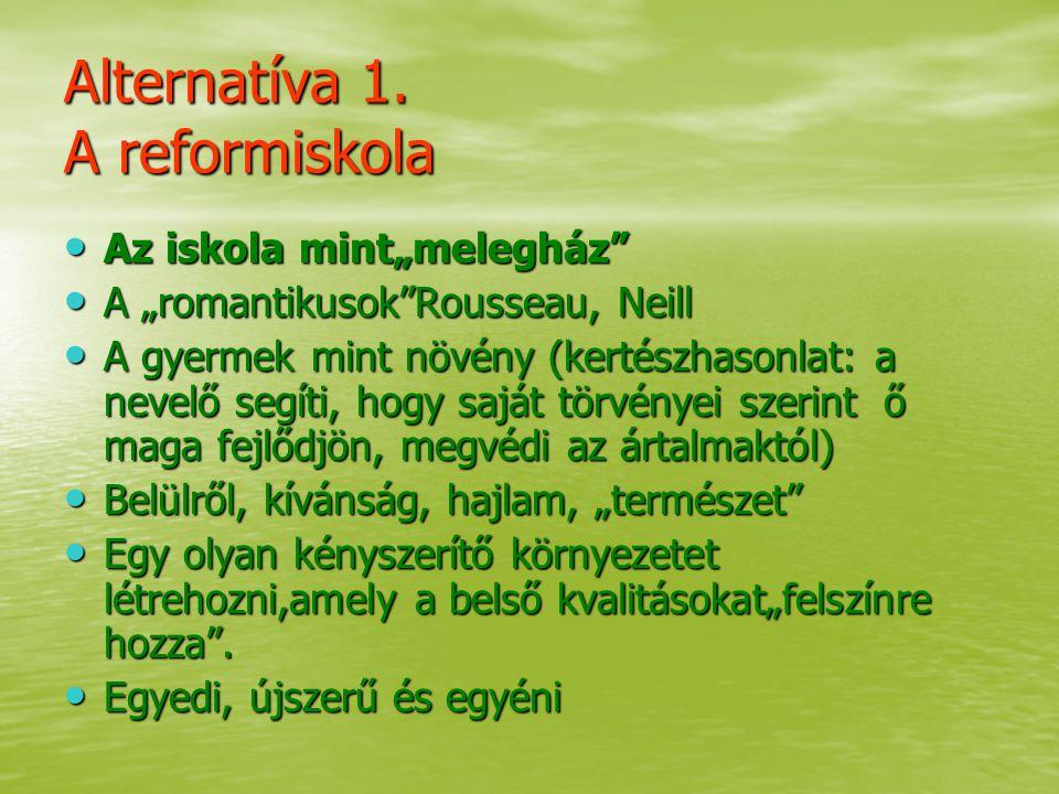 """Alternatíva 1. A reformiskola Az iskola mint""""melegház"""" Az iskola mint""""melegház"""" A """"romantikusok""""Rousseau, Neill A """"romantikusok""""Rousseau, Neill A gyer"""