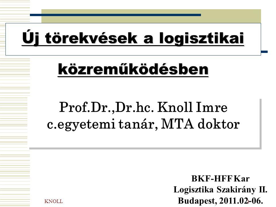KNOLL 1 Prof.Dr.,Dr.hc. Knoll Imre c.egyetemi tanár, MTA doktor Új törekvések a logisztikai közreműködésben BKF-HFF Kar Logisztika Szakirány II. Budap