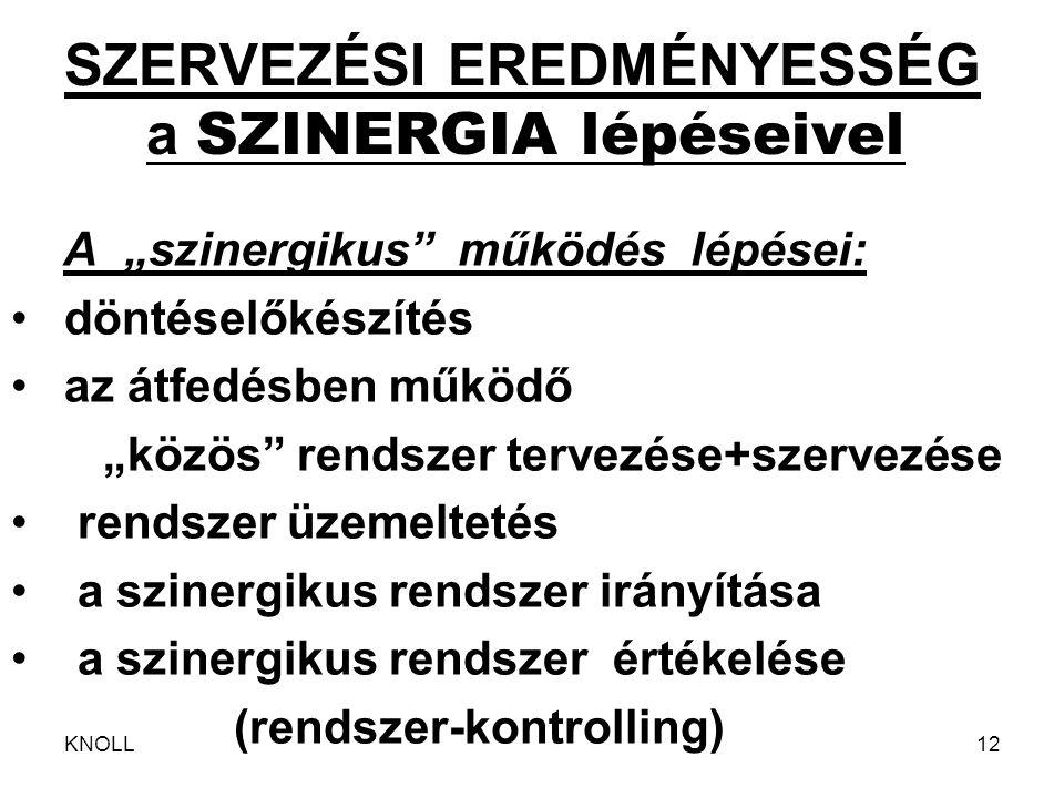"""KNOLL12 SZERVEZÉSI EREDMÉNYESSÉG a SZINERGIA lépéseivel A """"szinergikus"""" működés lépései: döntéselőkészítés az átfedésben működő """"közös"""" rendszer terve"""