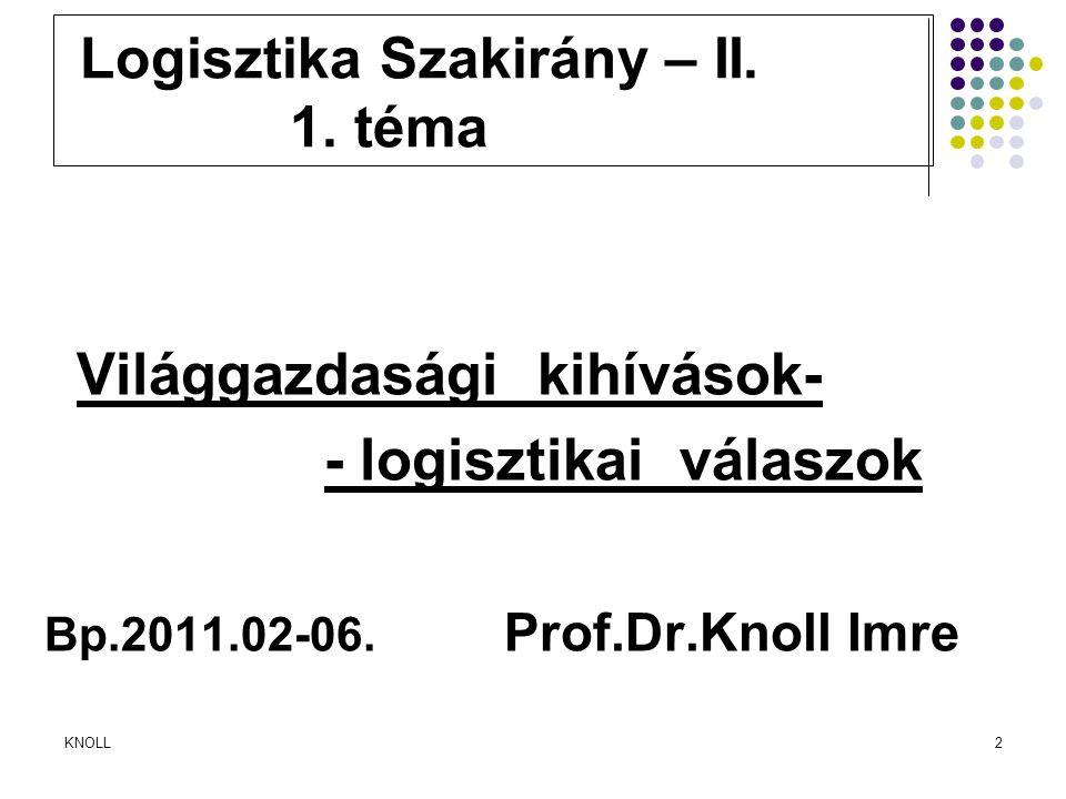 KNOLL2 Logisztika Szakirány – II. 1. téma Világgazdasági kihívások- - logisztikai válaszok Bp.2011.02-06. Prof.Dr.Knoll Imre