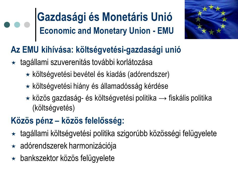 Az EMU kihívása: költségvetési-gazdasági unió  tagállami szuverenitás további korlátozása  költségvetési bevétel és kiadás (adórendszer)  költségve