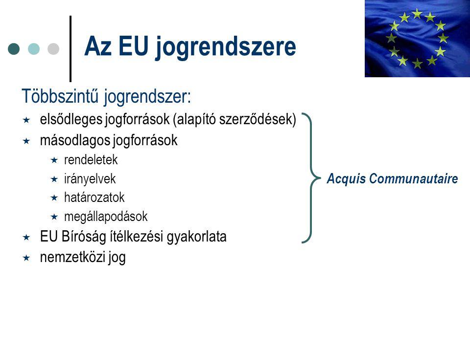 Többszintű jogrendszer:  elsődleges jogforrások (alapító szerződések)  másodlagos jogforrások  rendeletek  irányelvek Acquis Communautaire  határozatok  megállapodások  EU Bíróság ítélkezési gyakorlata  nemzetközi jog Az EU jogrendszere