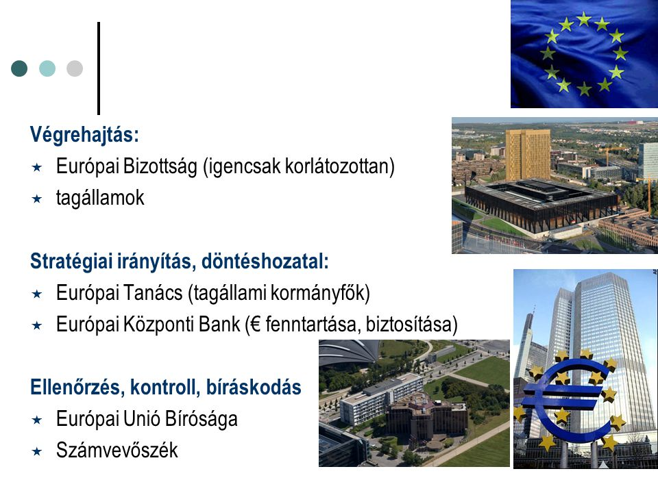 Végrehajtás:  Európai Bizottság (igencsak korlátozottan)  tagállamok Stratégiai irányítás, döntéshozatal:  Európai Tanács (tagállami kormányfők) 