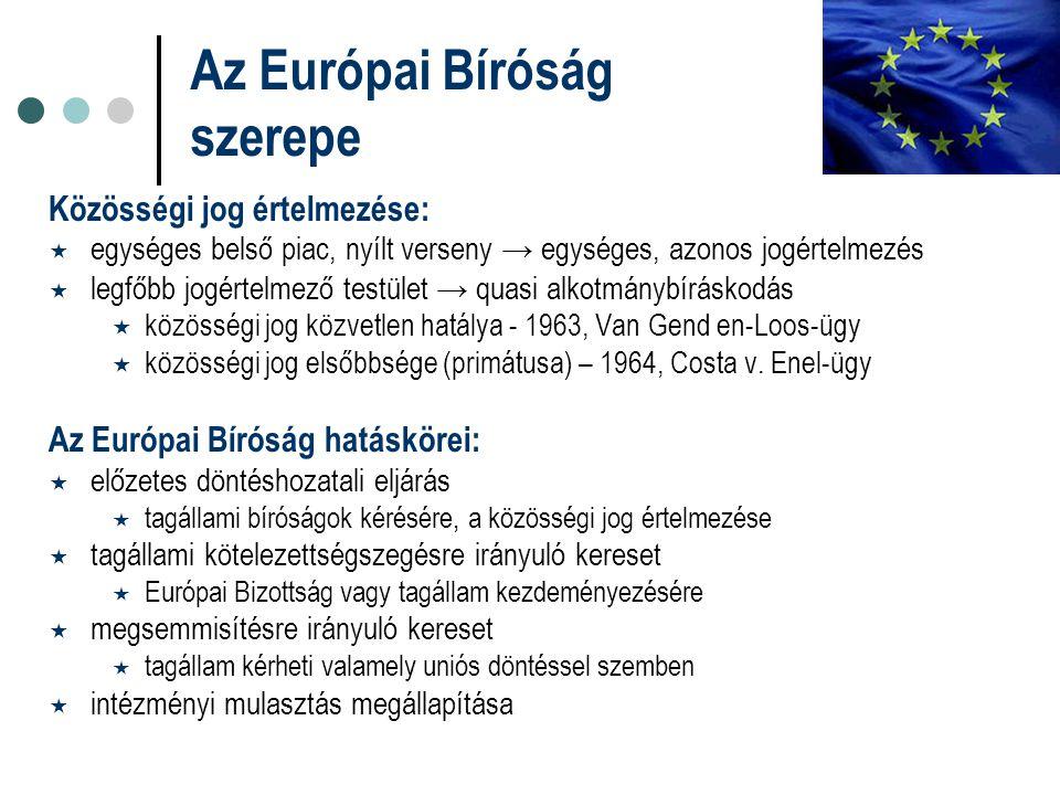 Közösségi jog értelmezése:  egységes belső piac, nyílt verseny → egységes, azonos jogértelmezés  legfőbb jogértelmező testület → quasi alkotmánybírá