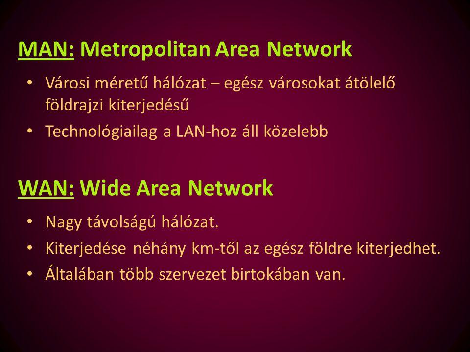 WAN: Wide Area Network Nagy távolságú hálózat. Kiterjedése néhány km-től az egész földre kiterjedhet. Általában több szervezet birtokában van. MAN: Me