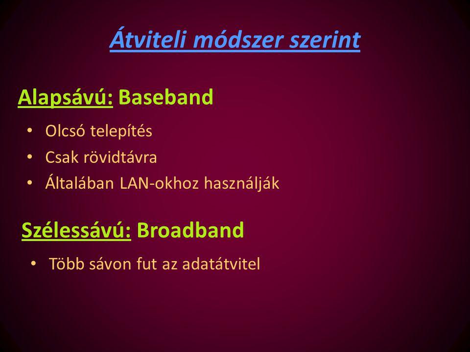 Alapsávú: Baseband Olcsó telepítés Csak rövidtávra Általában LAN-okhoz használják Átviteli módszer szerint Szélessávú: Broadband Több sávon fut az ada