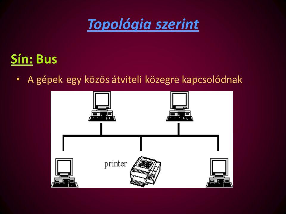 Sín: Bus A gépek egy közös átviteli közegre kapcsolódnak Topológia szerint