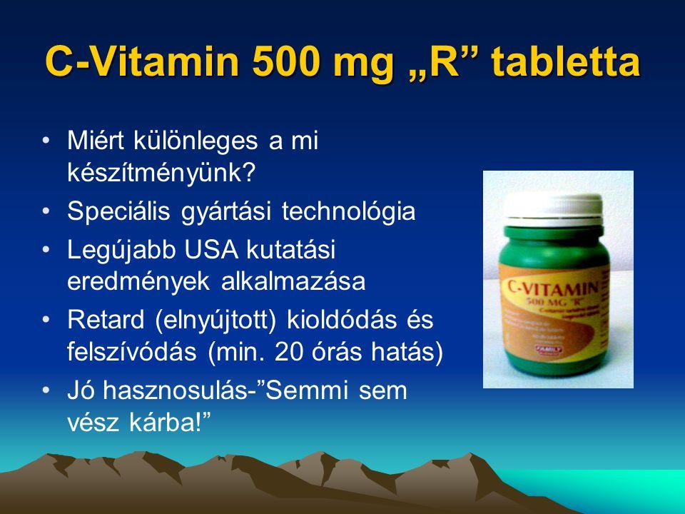 """C-Vitamin 500 mg """"R tabletta Miért különleges a mi készítményünk."""
