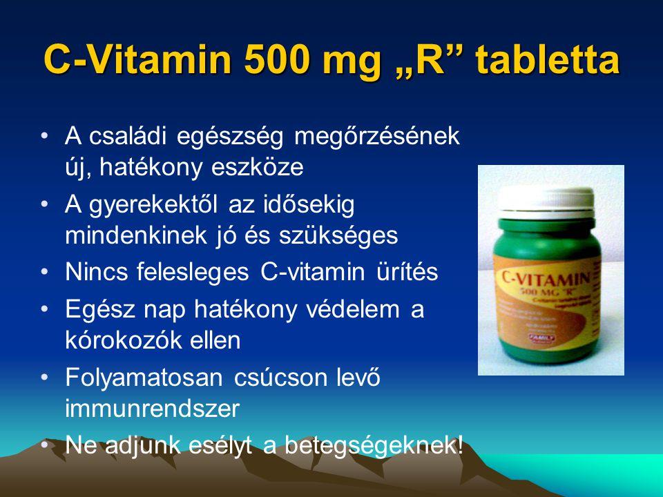 """C-Vitamin 500 mg """"R tabletta A családi egészség megőrzésének új, hatékony eszköze A gyerekektől az idősekig mindenkinek jó és szükséges Nincs felesleges C-vitamin ürítés Egész nap hatékony védelem a kórokozók ellen Folyamatosan csúcson levő immunrendszer Ne adjunk esélyt a betegségeknek!"""