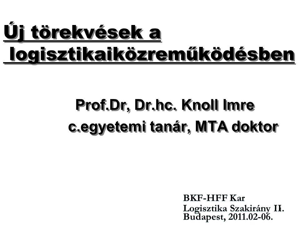 1 Új törekvések a logisztikaiközreműködésben Prof.Dr, Dr.hc. Knoll Imre c.egyetemi tanár, MTA doktor Prof.Dr, Dr.hc. Knoll Imre c.egyetemi tanár, MTA