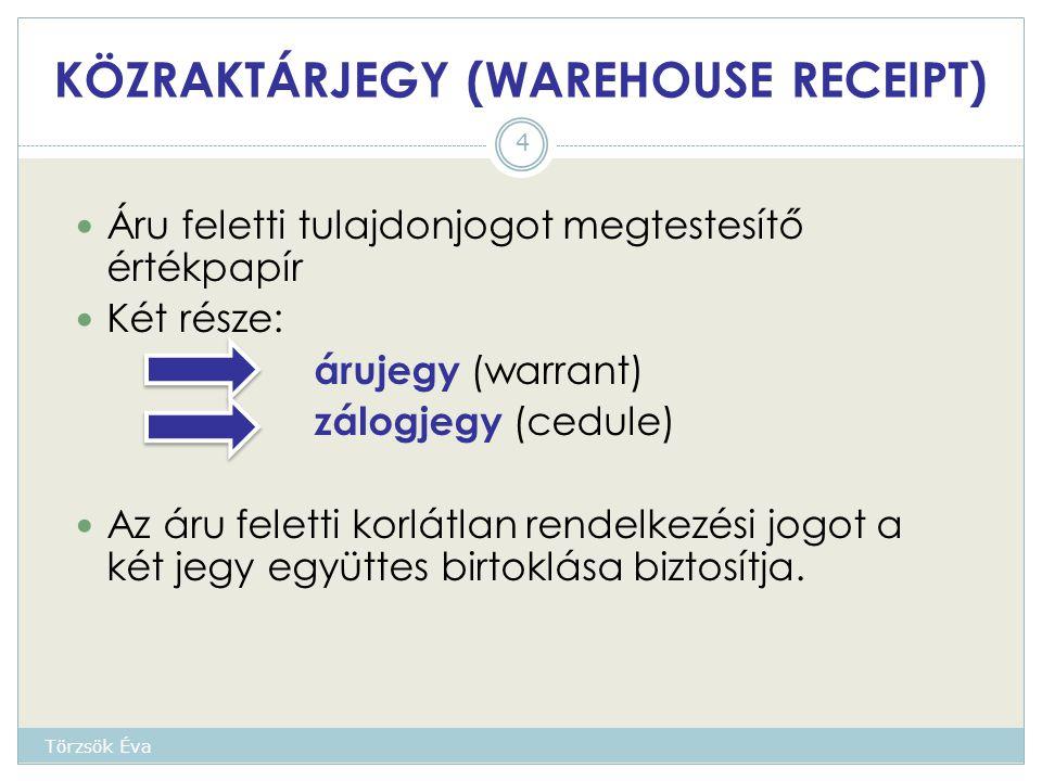 KÖZRAKTÁRJEGY (WAREHOUSE RECEIPT) Áru feletti tulajdonjogot megtestesítő értékpapír Két része: árujegy (warrant) zálogjegy (cedule) Az áru feletti korlátlan rendelkezési jogot a két jegy együttes birtoklása biztosítja.