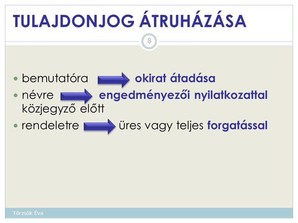TULAJDONJOG ÁTRUHÁZÁSA bemutatóra okirat átadása névre engedményezői nyilatkozattal közjegyző előtt rendeletre üres vagy teljes forgatással 8 Törzsök Éva