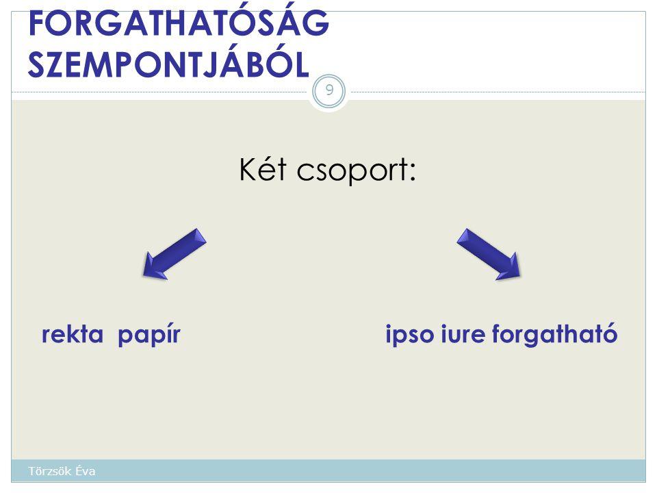FORGATHATÓSÁG SZEMPONTJÁBÓL Két csoport: rekta papír ipso iure forgatható 9 Törzsök Éva