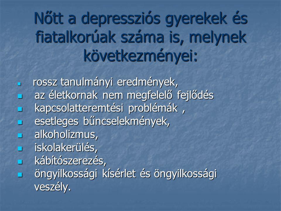 Nőtt a depressziós gyerekek és fiatalkorúak száma is, melynek következményei: rossz tanulmányi eredmények, rossz tanulmányi eredmények, az életkornak