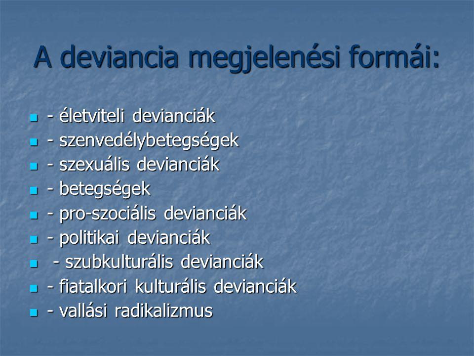 A deviancia megjelenési formái: - életviteli devianciák - életviteli devianciák - szenvedélybetegségek - szenvedélybetegségek - szexuális devianciák -