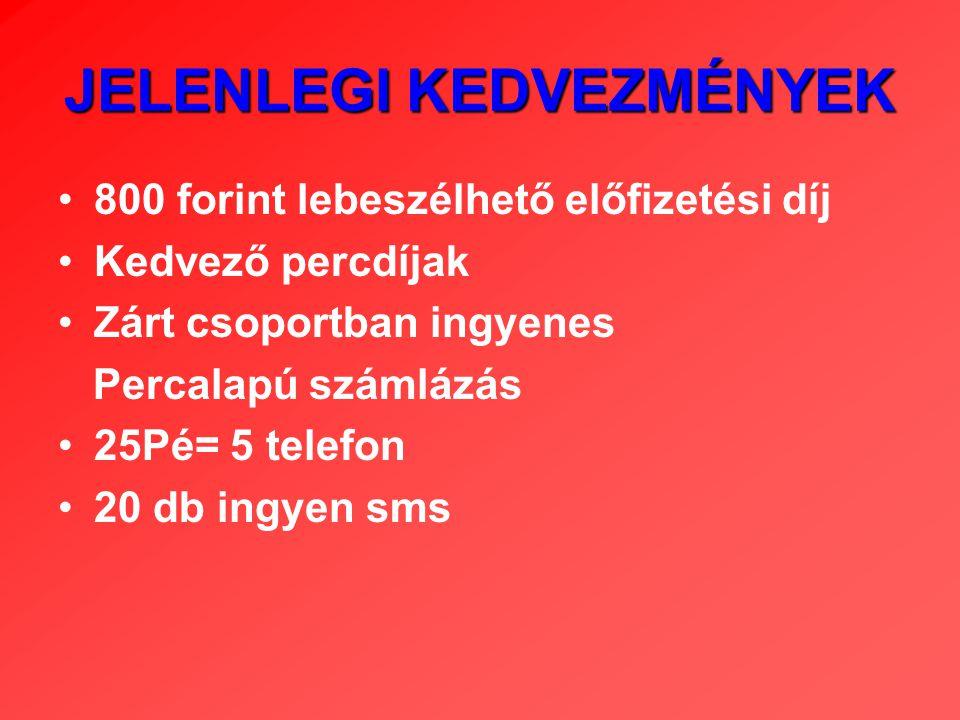 JELENLEGI KEDVEZMÉNYEK 800 forint lebeszélhető előfizetési díj Kedvező percdíjak Zárt csoportban ingyenes Percalapú számlázás 25Pé= 5 telefon 20 db ingyen sms