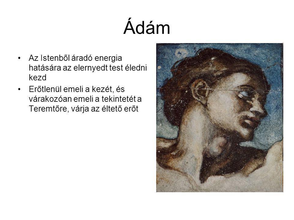 """Teremtő A teremtő átlósan elhelyezkedő testének ívét, Ádám testtartása ismétli meg Bíbor köpennyel borított angyalok tartják Bal karjával egy fiút karol, a felismerés pillanata: """"saját képére teremtette Ádámot Az égbolt kékje egysíkú, míg a jelenetek igen mozgalmasak"""