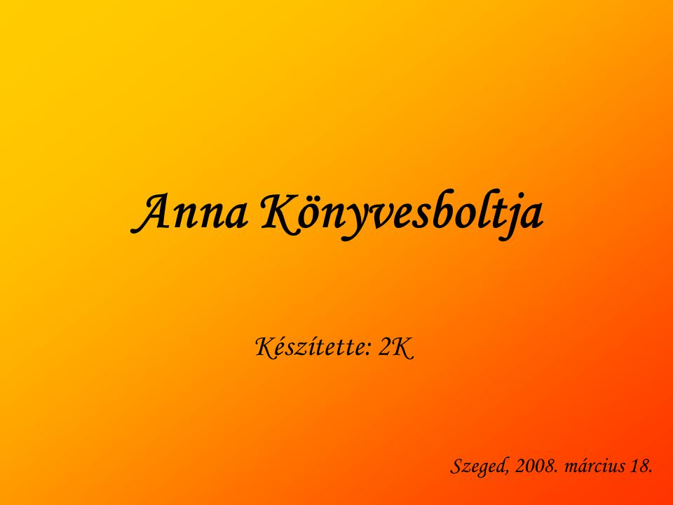 Anna Könyvesboltja Készítette: 2K Szeged, 2008. március 18.
