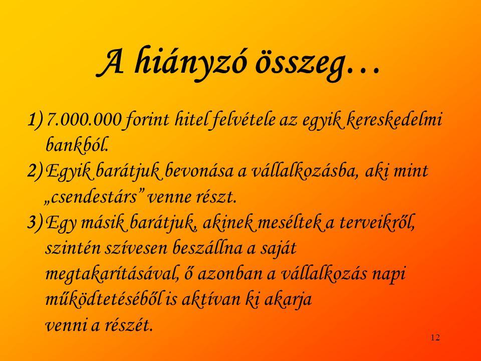 A hiányzó összeg… 1) 7.000.000 forint hitel felvétele az egyik kereskedelmi bankból.