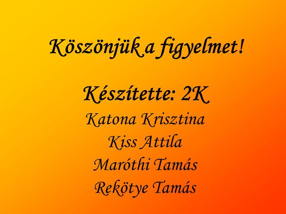 Köszönjük a figyelmet! Készítette: 2K Katona Krisztina Kiss Attila Maróthi Tamás Rekötye Tamás