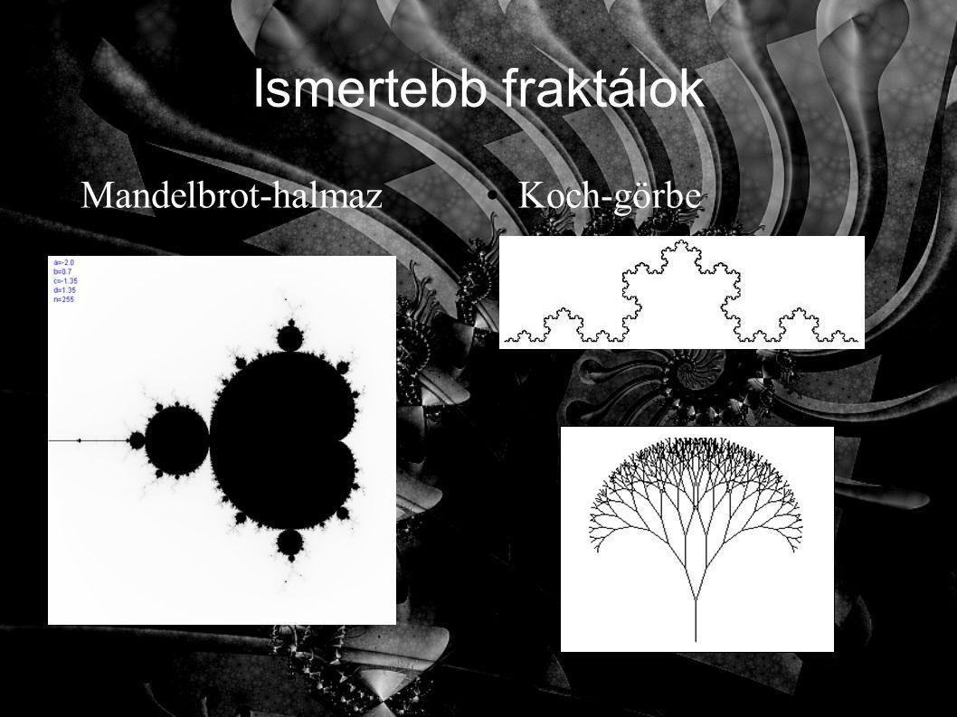 Ismertebb fraktálok Mandelbrot-halmazKoch-görbe