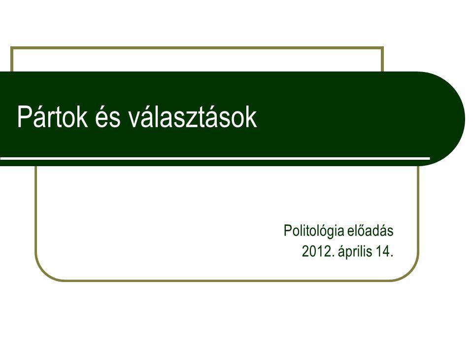 Pártok és választások Politológia előadás 2012. április 14.
