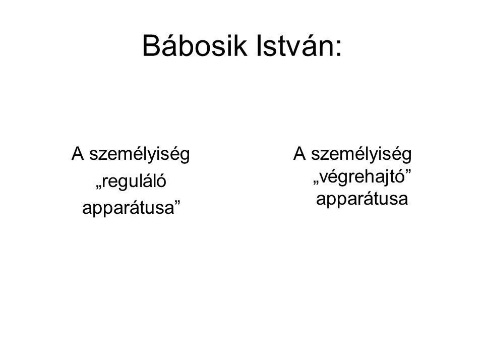 """Bábosik István: A személyiség """"reguláló apparátusa"""" A személyiség """"végrehajtó"""" apparátusa"""