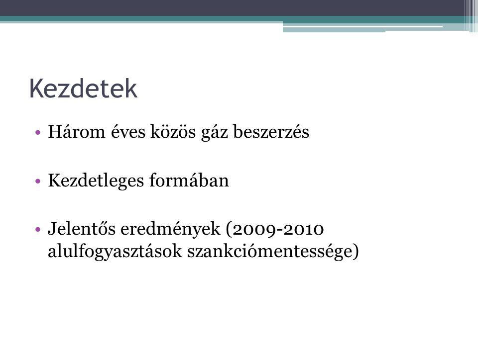 Kezdetek Három éves közös gáz beszerzés Kezdetleges formában Jelentős eredmények (2009-2010 alulfogyasztások szankciómentessége)