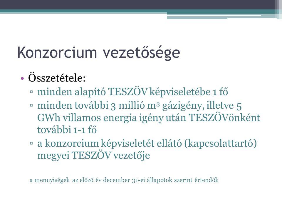 Konzorcium vezetősége Összetétele: ▫minden alapító TESZÖV képviseletébe 1 fő ▫minden további 3 millió m 3 gázigény, illetve 5 GWh villamos energia igé