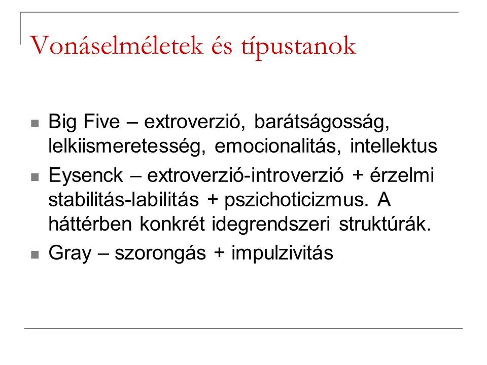 Vonáselméletek és típustanok Big Five – extroverzió, barátságosság, lelkiismeretesség, emocionalitás, intellektus Eysenck – extroverzió-introverzió +