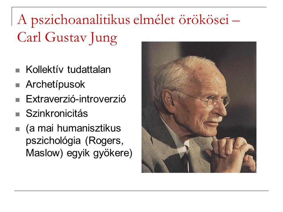 A pszichoanalitikus elmélet örökösei – Carl Gustav Jung Kollektív tudattalan Archetípusok Extraverzió-introverzió Szinkronicitás (a mai humanisztikus