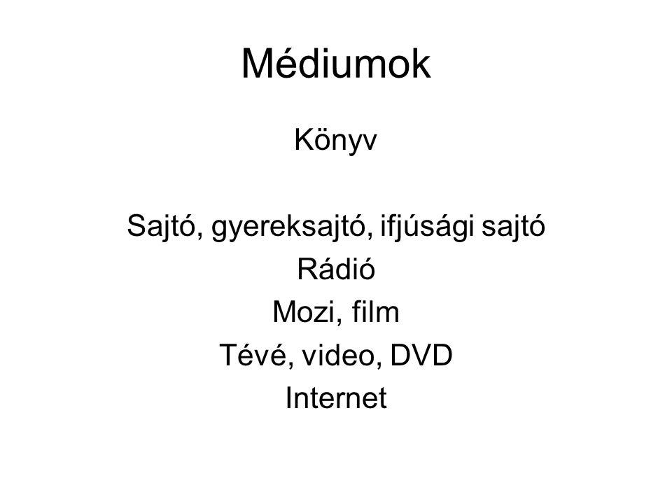 Médiumok Könyv Sajtó, gyereksajtó, ifjúsági sajtó Rádió Mozi, film Tévé, video, DVD Internet