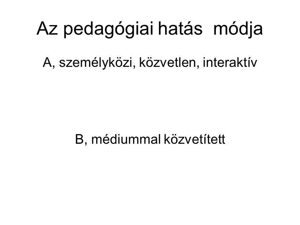 Az pedagógiai hatás módja A, személyközi, közvetlen, interaktív B, médiummal közvetített