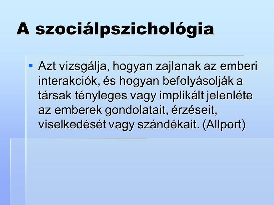 A szociálpszichológia  Azt vizsgálja, hogyan zajlanak az emberi interakciók, és hogyan befolyásolják a társak tényleges vagy implikált jelenléte az e
