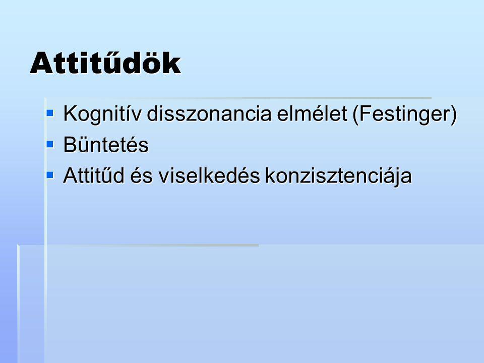 Attitűdök  Kognitív disszonancia elmélet (Festinger)  Büntetés  Attitűd és viselkedés konzisztenciája