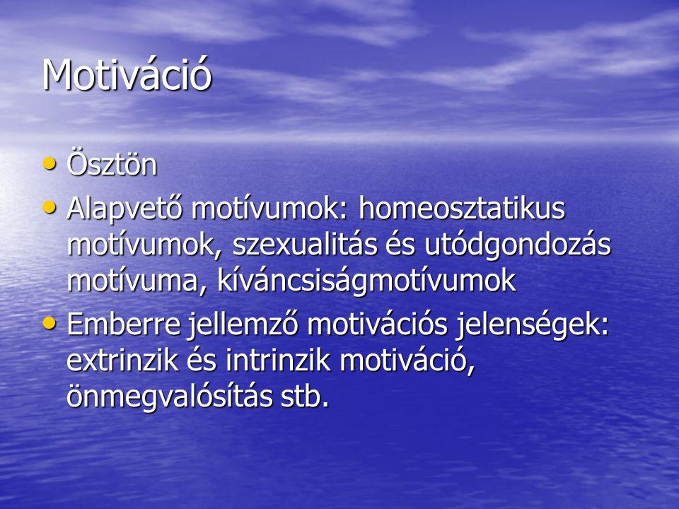 Motiváció Ösztön Ösztön Alapvető motívumok: homeosztatikus motívumok, szexualitás és utódgondozás motívuma, kíváncsiságmotívumok Alapvető motívumok: h