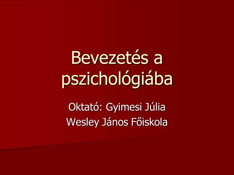 Bevezetés a pszichológiába Oktató: Gyimesi Júlia Wesley János Főiskola