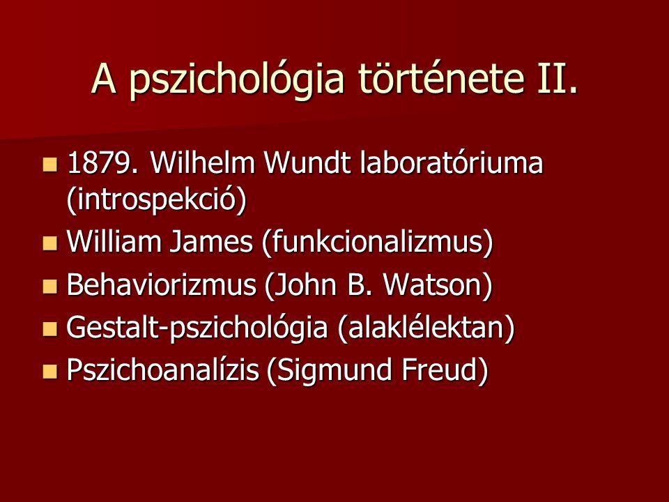 A pszichológia története II. 1879. Wilhelm Wundt laboratóriuma (introspekció) 1879. Wilhelm Wundt laboratóriuma (introspekció) William James (funkcion