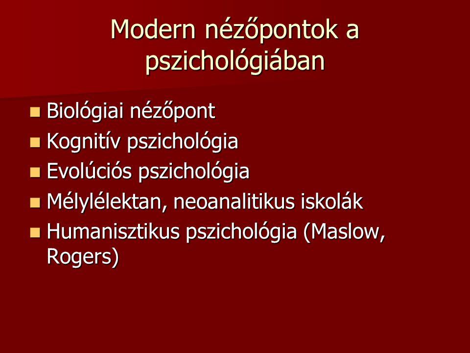 Modern nézőpontok a pszichológiában Biológiai nézőpont Biológiai nézőpont Kognitív pszichológia Kognitív pszichológia Evolúciós pszichológia Evolúciós