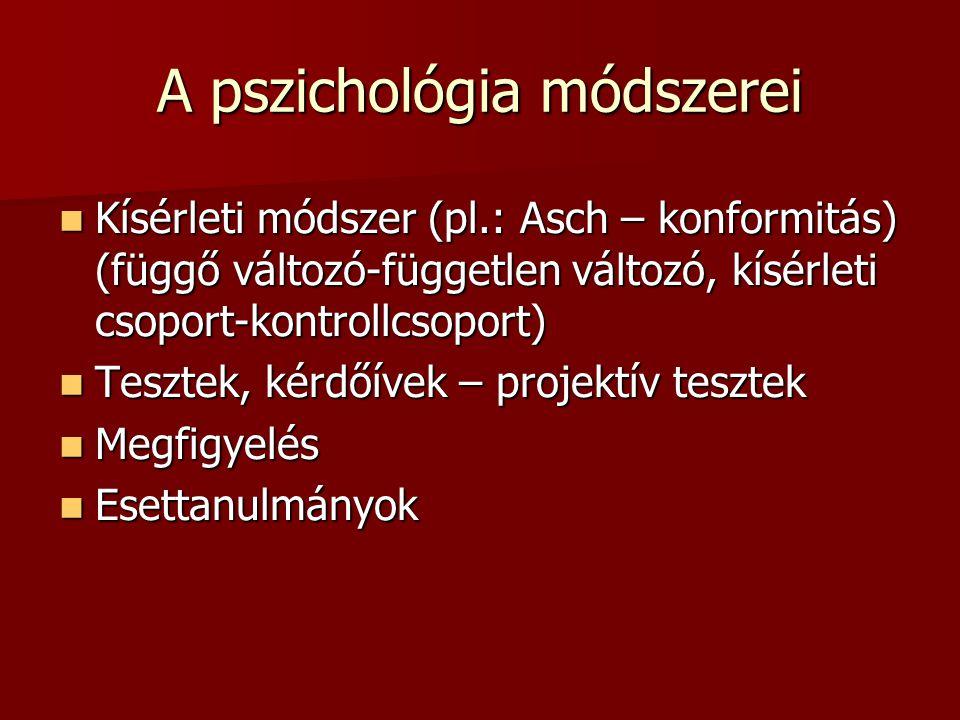 A pszichológia módszerei Kísérleti módszer (pl.: Asch – konformitás) (függő változó-független változó, kísérleti csoport-kontrollcsoport) Kísérleti mó