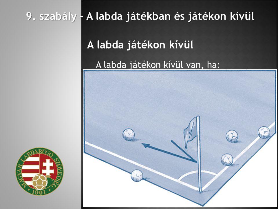 9. szabály – A labda játékban és játékon kívül A labda játékon kívül A labda játékon kívül van, ha: akár a földön, akár a levegőben teljes terjedelmév
