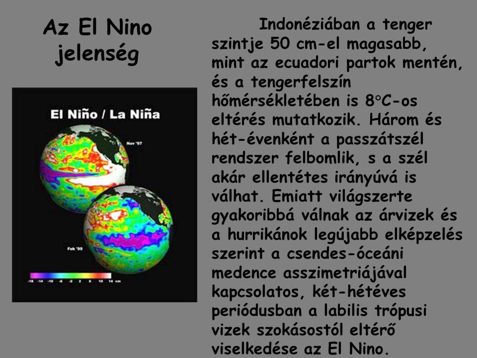 Az El Nino jelenség Indonéziában a tenger szintje 50 cm-el magasabb, mint az ecuadori partok mentén, és a tengerfelszín hőmérsékletében is 8°C-os elté