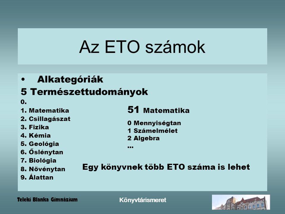 Teleki Blanka Gimnázium Könyvtárismeret Alkategóriák 5 Természettudományok 0. 1. Matematika 2. Csillagászat 3. Fizika 4. Kémia 5. Geológia 6. Őslényta
