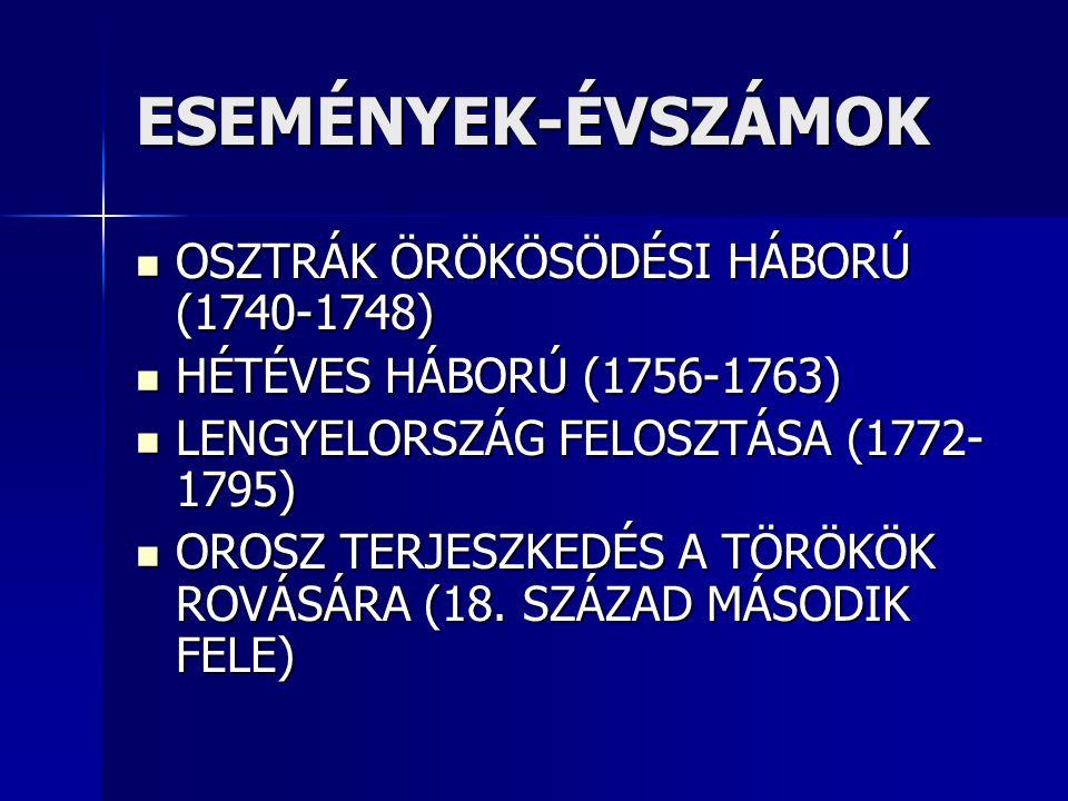 ESEMÉNYEK-ÉVSZÁMOK OSZTRÁK ÖRÖKÖSÖDÉSI HÁBORÚ (1740-1748) OSZTRÁK ÖRÖKÖSÖDÉSI HÁBORÚ (1740-1748) HÉTÉVES HÁBORÚ (1756-1763) HÉTÉVES HÁBORÚ (1756-1763) LENGYELORSZÁG FELOSZTÁSA (1772- 1795) LENGYELORSZÁG FELOSZTÁSA (1772- 1795) OROSZ TERJESZKEDÉS A TÖRÖKÖK ROVÁSÁRA (18.